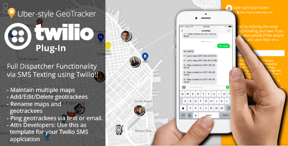 """Twilio """"Geo-text"""" Plug-In (a PHP Uber-style Geotracker Add On) - CodeCanyon Item for Sale"""