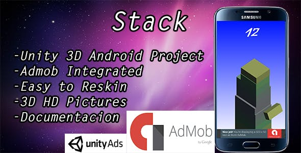 Stack game with Admob banner and Interstitial
