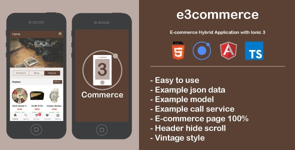 e3commerce - Hybrid Application with Ionic3 - CodeCanyon Item for Sale