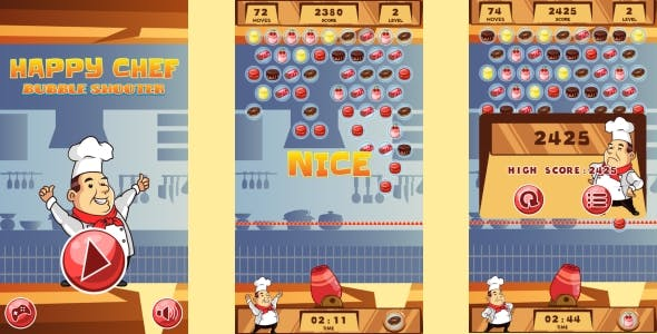 Happy Chef Bubble Shooter - HTML5 Game + Android (Construct 3 | Construct 2 | Capx)