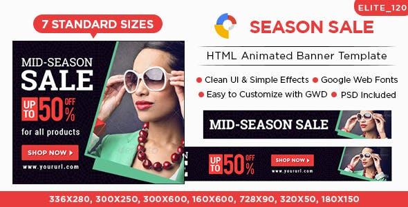 Season Sale HTML5 Banners - 7 Sizes - Elite-CC-120