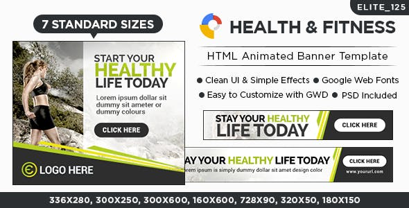 Fitness HTML5 Banners - 7 Sizes (Elite-CC-125)