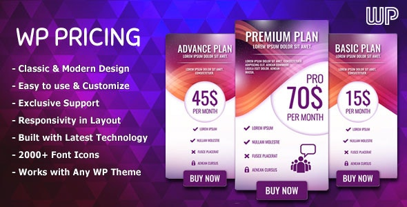 WP Pricing - WordPress Responsive Pricing Tables - CodeCanyon Item for Sale