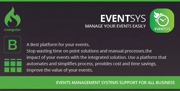 Eventsys & Events Management System - CodeCanyon Item for Sale