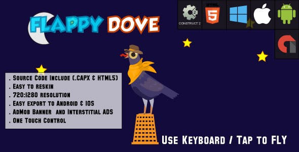 Crazy Flappy Dove - HTML5 Game - Android & IOS + AdMob (CAPX)