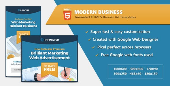 HTML5 Modern Business Banners - GWD Templates