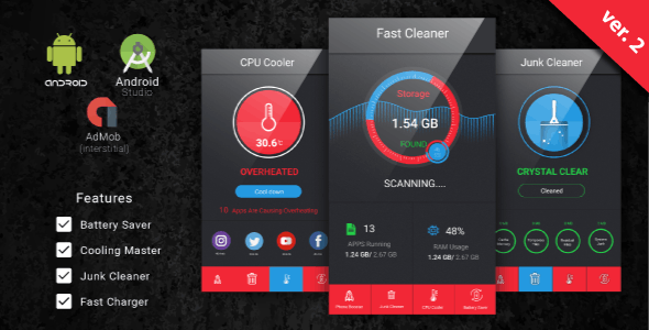 Fast Cleaner, Fast Charger & Battery Saver with Admob Ads