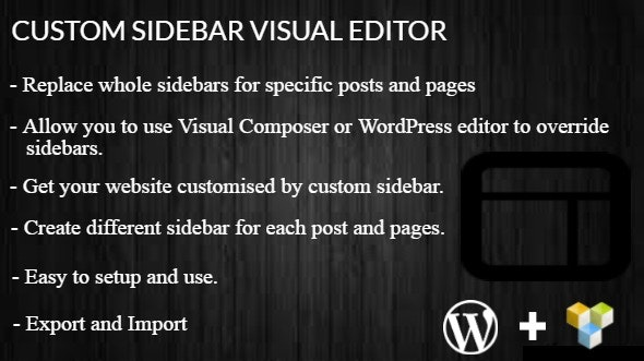 Custom Sidebar Visual Editor WordPress Plugin - CodeCanyon Item for Sale
