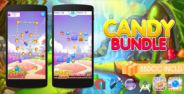 Candy Bundle ( 2 Games ) Buildbox BBDOC Project + Android Studio + Eclipse + IOS XCODE