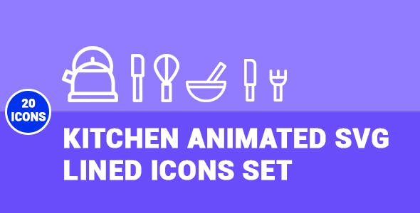 Kitchen Animated SVG Lined Icons Set