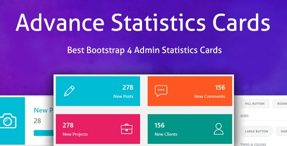 Advance Statistics Cards - Bootstrap 4 Admin Statistics Cards Layout - CodeCanyon Item for Sale