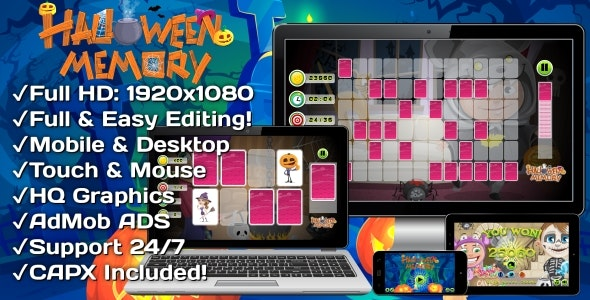 Halloween Memory - HTML5 Game 14 Levels + Mobile Version! (Construct 3 | Construct 2 | Capx) - CodeCanyon Item for Sale