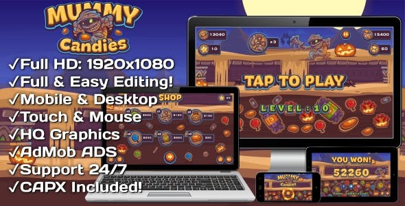Mummy Candies - HTML5 Game 20 Levels + Mobile Version! (Construct 3 | Construct 2 | Capx)