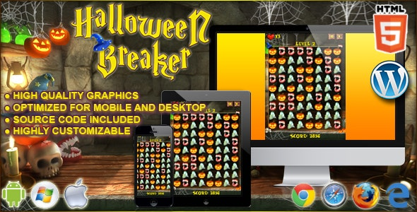 Halloween Breaker - HTML5 Match 3 Game - CodeCanyon Item for Sale