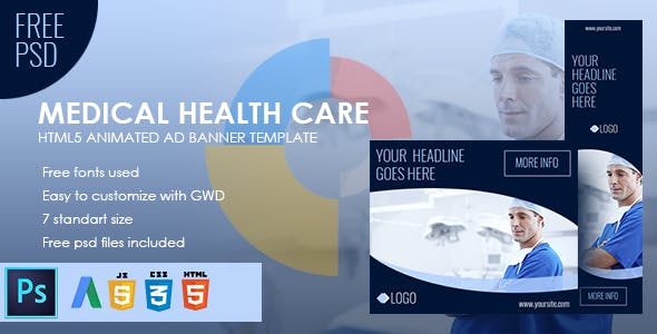 Medical Health Care - Animated HTML5 Banner Ad Set (GWD)