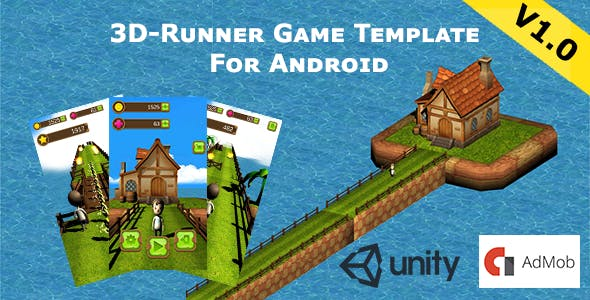 3D Runner Game Template For Android With Banner Ads,ingame shop