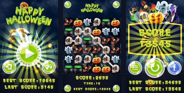 Happy Halloween Match3 - HTML5 Game + Android (Construct 3 | Construct 2 | Capx)