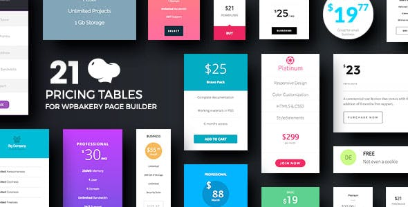 Pricing Tables for WPBakery Page Builder (Visual Composer)