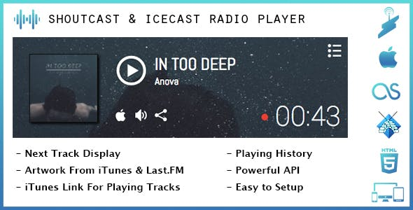 SHOUTcast & Icecast Radio Player with iTunes & Last.FM