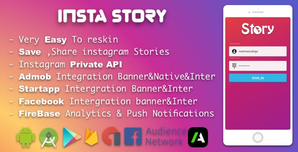 Premium Instagram Story Saver With Admob FB Startapp Banner-Interstitial-Native