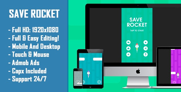 Save Rocket - HTML5 Game + Mobile Version! (Construct-2 CAPX) - CodeCanyon Item for Sale