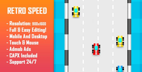Retro Speed - HTML5 Game + Mobile Version! (Construct 2 / Construct 3 / CAPX)