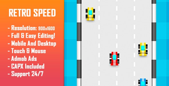 Retro Speed - HTML5 Game + Mobile Version! (Construct 2 / Construct 3 / CAPX) - CodeCanyon Item for Sale