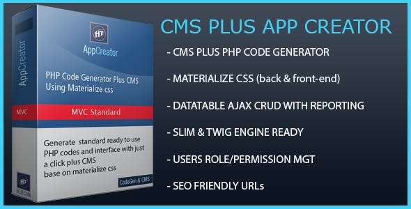 Hezecom CMS Plus PHP AppCreator with Materialized CSS