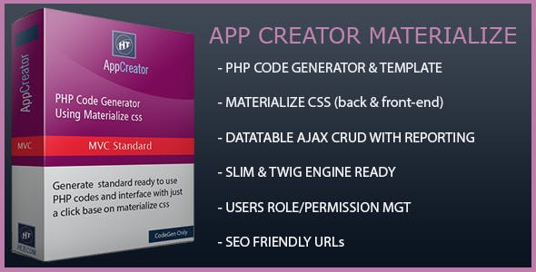 Hezecom PHP AppCreator with Materialized CSS