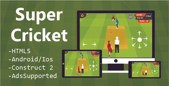 Super Cricket (HTML5 Game + Construct 2&3 CAPX)