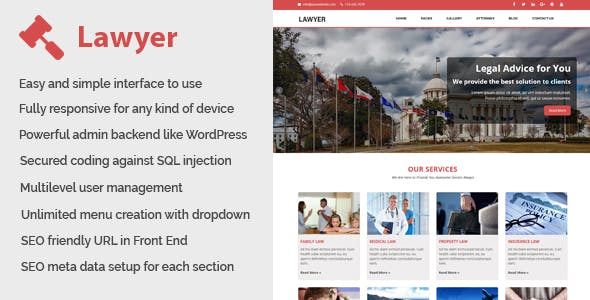 Lawyer - Law and Attorney Website CMS