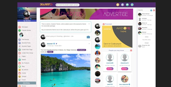 Awesome-Theme for WoWonder Social PHP Script - CodeCanyon Item for Sale