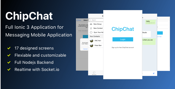 ChipChat Full Ionic 3 Application for Messaging Mobile Application - CodeCanyon Item for Sale