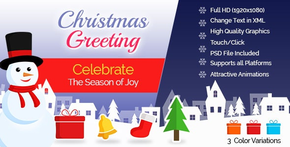 Christmas Greeting Card - 3 Color Variations - CodeCanyon Item for Sale