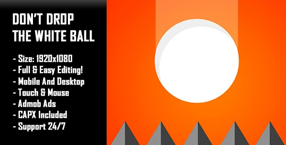 Don't Drop The White Ball - HTML5 Game + Mobile Version! (Construct-2 CAPX) - CodeCanyon Item for Sale