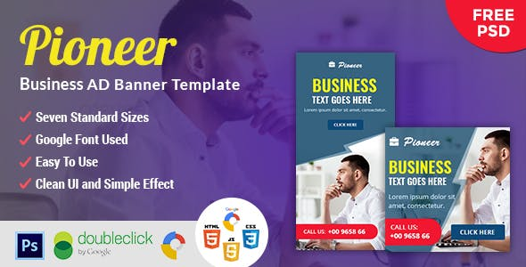 Pioneer | Business HTML 5 Animated Google Banner