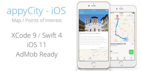 appyCity - iOS 11 City Guide Map App - XCode 9 / Swift 4