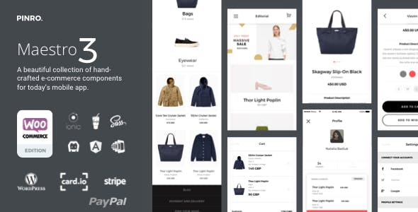 Maestro - Ionic 3 Full Android, iOS E-Commerce App integrated with Woocommerce, Paypal, Stripe