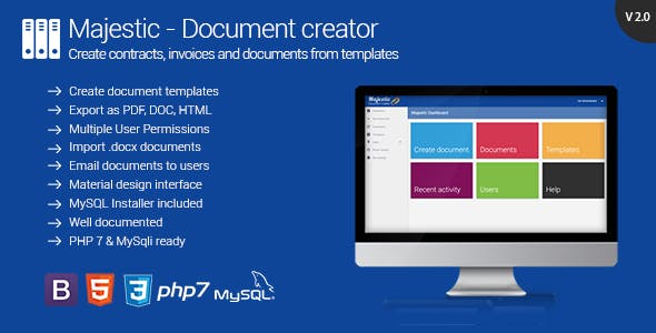 Majestic - Create documents from templates. Generate contracts and invoices