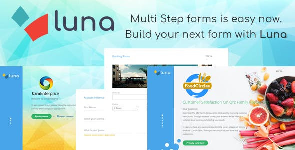 Luna Multi Step Form. E-commerce, Questionnaire, Reservation, Service