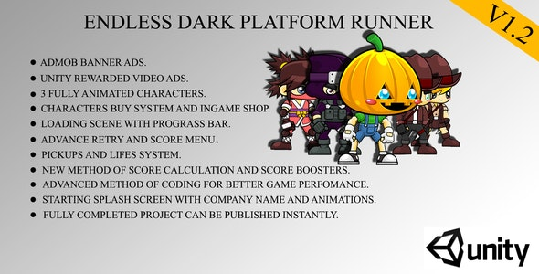 Endless Dark Platform Runner Game Template For Android With Admob,ingame shop And Unity Ads - CodeCanyon Item for Sale