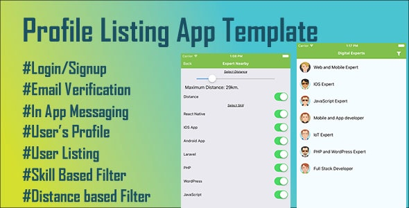 Profile Listing and Live Chat App Template - CodeCanyon Item for Sale