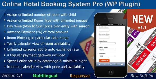 Online Hotel Booking System Pro (WordPress Plugin)