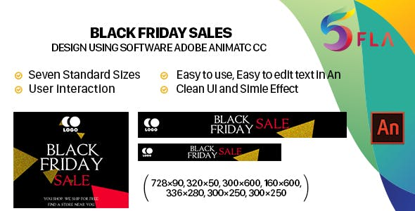Black Friday Sales Banners HTML5 (Animate CC)