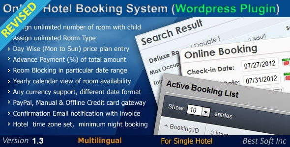 Online Hotel Booking System Wordpress Plugin By Bestsoftinc Codecanyon