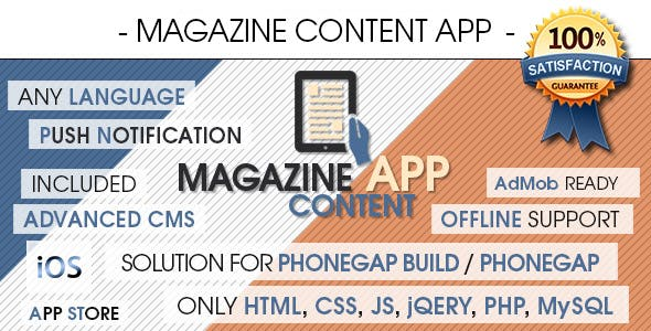 Magazine Content App With CMS - iOS [ Push Notifications | Offline Storage ]