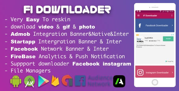 Facebook Instagram Downloader With Admob Native , Startapp , Facebook Network ADS 2018