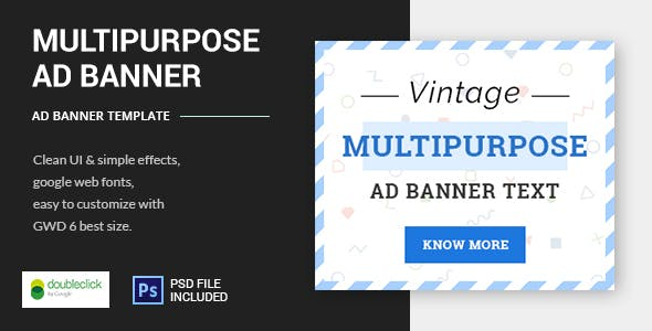 Vintage Multipurpose - HTML5 Animated Banner Template