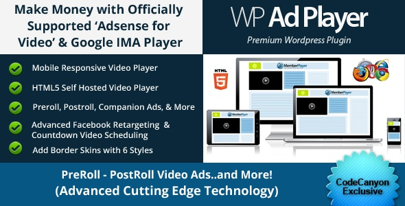 Ad Revenue Adsense for Video / Google IMA HTML Video Player