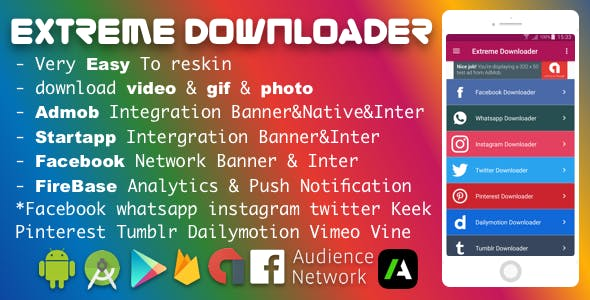 Facebook Whatsapp Instagram Twitter Pinterest Dailymotion Tumblr Vimeo Vine Keek Downloader Pro 2018